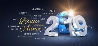 Happy New Year 2019 French Greeting Card. Happy New Year greetings, best wishes in French language and 2019 date number, composed with planet earth blue colored vector illustration