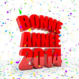 Happy New year 2014 in french languages. 3D Render of the text Happy New Year in french languages Royalty Free Stock Images