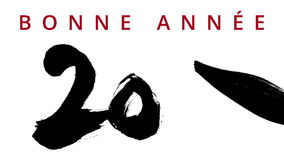 Happy New Year 2016 in french - writing calligraphy with a brush chinese ink - highly contrasted - greeting video card. With wishes appearing on the top