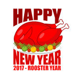 Happy new year Fried rooster symbol of 2017 . Baked red cock on. Plate with apples. Roasted chicken isolated. grilled holiday turkey Stock Photography