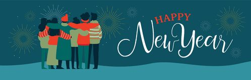 Happy New Year friend people group web banner. Happy New Year web banner illustration of young people friend group hugging together with fireworks in night sky royalty free illustration