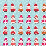 Happy New Year Funny gnomes in red hats seamless Stock Images