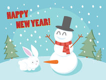 Happy New Year funny greeting card. Stock Photo