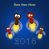 Happy new year. Funny illustration of fireflies in the night Royalty Free Stock Image