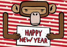 Happy New Year funny monkey. Congratulations cartoon Happy New Year 2016 monkey with red stripes Royalty Free Stock Photos