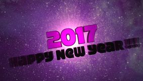 Happy New Year 2017 - Galaxy Loopable. Happy New Year 2017 - 3D Text Galaxy Loopable Animation Background stock video
