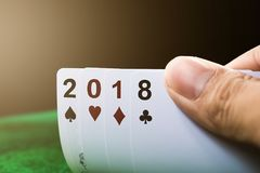 Happy new year 2018 gambling card. Happy new year 2018 gambling card close up stock photos