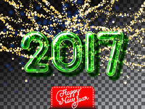 Happy New 2017 Year garland invitation. Realistic glass font with transparency and shadows. 3D bulb isolated green numbers on the glitter gold garland Royalty Free Stock Image