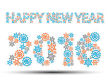 2016 happy new year gear blue. And merry christmas Royalty Free Stock Photos