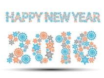 2016 happy new year gear blue Royalty Free Stock Photos
