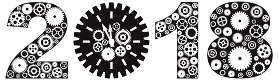 Happy New Year 2018 with Gears vector Illustration. Happy New Year 2018 with Mechanical Gears and Clock Black and White vector Illustration royalty free illustration