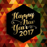 Happy New Year 2017 geometric background card Royalty Free Stock Images