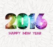 Happy new year 2016 geometric and flower sketch doodle background Stock Image