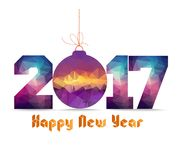 Happy new year 2017 geometrical card with Christmas ball Royalty Free Stock Image