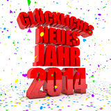 Happy New year 2014 in german languages. 3D Render of the text Happy New Year in german languages Royalty Free Stock Photography