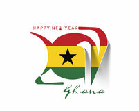 Happy new year 2017 with Ghana Flag Pattern. Text Vector Design Background Royalty Free Stock Images