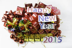 Happy New Year and a gift Stock Photo