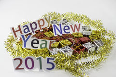 Happy New Year and a gift Stock Image
