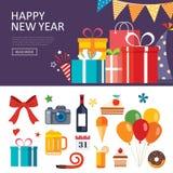 Happy new year gift box banner. Flat design stock illustration