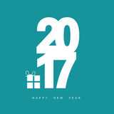 Happy new year 2017 with gift box in blue illustration. Happy new year 2017 with gift box in blue color illustration Royalty Free Stock Photo