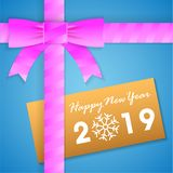 Happy new year Gift box Card. Happy new year 2019 Gift box Card Background stock illustration
