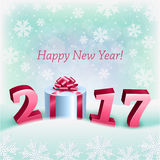 Happy New 2017 Year and a Gift Box. An editable vector illustration of a gift and New 2017 Year on a background with snowflakes Royalty Free Stock Image