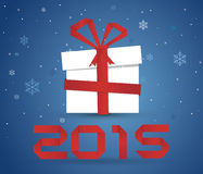 Happy new year 2015. Gift box 2015 Stock Photography