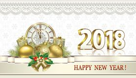Happy New Year 2018. Gift boxes with clocks and bells. Gift boxes with clocks and balls on the background of snowflakes stock illustration