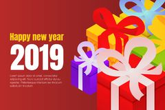 Happy new year gift boxes concept background, isometric style. Happy new year gift boxes concept background. Isometric illustration of happy new year gift boxes vector illustration