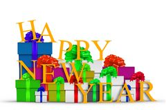 Happy New Year with Gift Boxes. Over White stock illustration