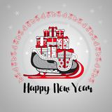 Happy New Year. Gift boxes on a sledge. Vector. Happy New Year. Gift boxes with bows and ribbons on a sledge and linear bells circle shape isolated on grey stock illustration