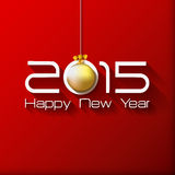 Happy New Year Gift greeting card with gold ball. On red background. Vector illustration vector illustration