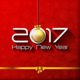 2017 Happy New Year Gift greeting card with gold. Christmas ball Stock Illustration