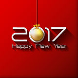 2017 Happy New Year Gift greeting card with gold. Christmas ball Vector Illustration