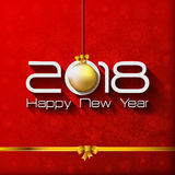 2018 Happy New Year Gift greeting card with gold. Christmas ball vector illustration