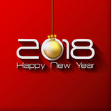 2018 Happy New Year Gift greeting card with gold. Christmas ball stock illustration