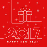 2017 Happy New Year gift. In red Stock Photo