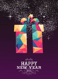 Happy new year 2016 gift triangle hipster color. Happy new year 2016 greeting card or poster design: triangle style gift with colorful wrapping paper and vintage royalty free illustration