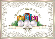 Happy New Year. Gifts in colorful boxes. Gifts in colorful boxes in a frame with an ornament Stock Photo