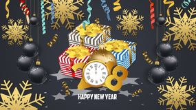 Happy new year 2018 gifts and confetti celebration. Gold greeting decoration Stock Images