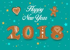Happy New Year 2018. Ginger breads numerals stock images