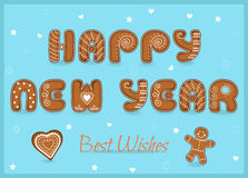 Happy new year. Gingerbread font. Festive Inscription with Gingerbread letters. Happy New Year. Best wishes. Heart and gingerbread man. Unusual sweet font with Stock Photography