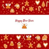 Happy New year. Gingerbreads. Xmas greeting card template. Happy winter holidays poster. Holiday banner royalty free illustration