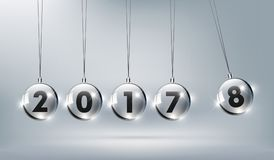 Happy New Year 2018 with glass Newtons cradle, Happy New. Year 2018 is coming, vector illustration eps10 Stock Photo