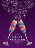 Happy new year 2016 glass triangle hipster color. Happy new year 2016 holiday greeting card or poster design with colorful triangle wine glass and label Vector Illustration
