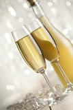 Happy new year - glasses and bottle of champagne Royalty Free Stock Photography