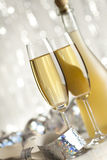 Happy new year - glasses of champagne and bottle Stock Photography
