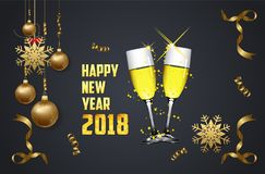 Happy new year 2018. Glasses of champagne on bright background with confetti and ball.  Stock Image