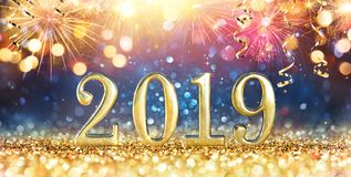 Happy New Year 2019 - Glitter royalty free stock photo
