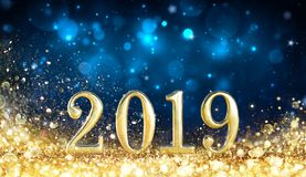 Happy New Year 2019. Glitter Golden Dust royalty free stock photos